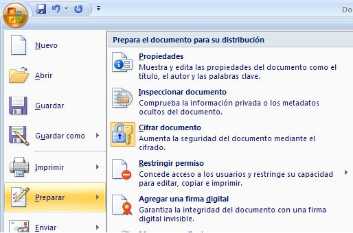Encriptar documentos de Office.