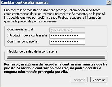 Utilizar contraseña maestra en Firefox